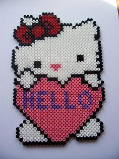 """Emma's """"Hello"""" Kitty  hama beads By Shazann"""