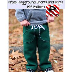 Patterns for Pirates Playground Shorts and Pants Sewing Pattern - This beginner knit pattern has LOTS of options! They are super comfortable knit waistband that can be paired with knit or woven bottoms. They have the option of pant length or shorts length for year round. Other options are: traditional hem, raw edge hem, no pockets, patch pockets, inset slat pockets, and back pocket. :: $8.50