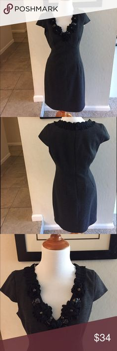 Taylor dress with embellished neckline Gray and black dress. Excellent condition. Taylor Dresses