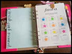 Filofax: Inside My A5 Original-- love the idea of marking the calendar with stars when a month is done