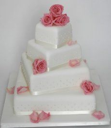 Image detail for -Twisted Pink Roses with Pearl Beading Wedding Cake