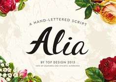 Alia It is a heavy formal script similar in form to Commercial Script. t's modern, bold, and lively, but not too whimsical. Features plenty of ligatures and stylistic alternates for a realistic, hand-lettered look.  Uppercase letters can be used alone as a cohesive group, or they can be paired with their lowercase cousins, for lettering that dances effortlessly across your design.