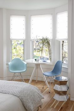 sarah richardson sarah 101 turquoise blue moulded plastic eames chairs