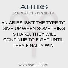 Fact about Aries: An Aries isn't the type to give up when something is... #aries, #ariesfact, #zodiac. More info here: https://www.horozo.com/blog/an-aries-isnt-the-type-to-give-up-when-something-is/ Astrology dating site: https://www.horozo.com