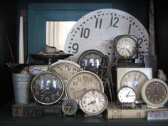 four corners design: Industrial Chic - I've been wanting to collect old clocks for a while now; and now I'm wanting to even more!