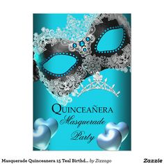 Shop Masquerade Quinceanera 15 Teal Birthday Party Invitation created by Zizzago. Masquerade Party Invitations, Quinceanera Invitations, Quinceanera Party, Birthday Party Invitations, Invitation Paper, Custom Invitations, Invites, Sweet 16 Masquerade, Mask Party