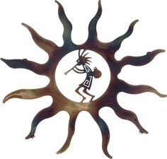 "Metal Wall Art ~ 16"" Kokopelli with Pot Sun"