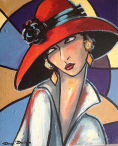 Peinture huile originale sur toile sur châssis en bois art moderne art déco - Yesterday : Peintures par la-perruche-de-rio