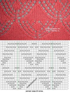 knitka.ru Lace Knitting Stitches, Lace Knitting Patterns, Knitting Charts, Lace Patterns, Loom Knitting, Free Knitting, Stitch Patterns, Knit Or Crochet, Crochet Crafts