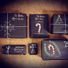 More gift wrap ideas... **IDEA** Use black or brown paper & emboss with Scrapbooking tools, then use white chalk or ink to color raised embossed areas!