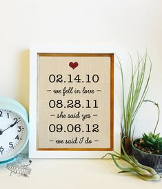 ON SALE We fell in love, she said yes, we said I do | Important Dates | Personalized Linen 4th Anniversary Gift | Frame not included