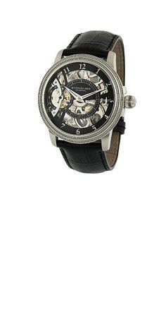 STUHRLING ORIGINAL 228.33151 (ブラック)  すこしゴチャッとした印象の時計です。 機械好きにはたまらないデザインですね。
