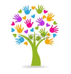 Illustration about Tree hands and hearts figures logo icon vector. Illustration of background, agreement, help - 55123754 Logo Arbol, Summer Crafts, Crafts For Kids, Daycare Logo, Preschool Logo, Hand Print Tree, Hand Prints, Children's Church Crafts, Creative Connections