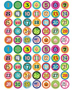 Calendar Funky Numbers Bottle Cap Images from Bottle Cap Co
