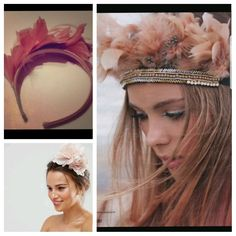 Festival Indie Feather Flower Headband Baby Pink