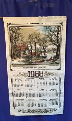 1968 Linen Dish Tea Towel Calendar With Hanging Wood Dowel Winter In The Country