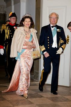 Queen Silvia of Sweden and King Carl Gustaf of Sweden attend a Gala Dinner at Christiansborg Palace on the eve of The 75th Birthday of Queen Margrethe of Denmark on April 15, 2015 in Copenhagen, Denmark.