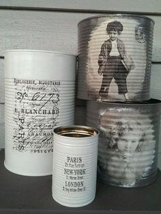 Gjenbruksglede! Personlige gaver av gamle hermetikkbokser - av Tusen Ideer Tin Can Crafts, Fun Crafts, Diy And Crafts, Arts And Crafts, Tin Can Alley, Diy Herb Garden, Idee Diy, Reuse Recycle, Farmhouse Chic