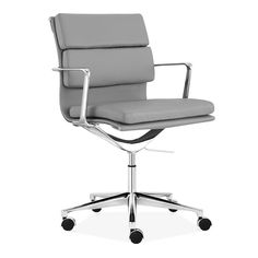 cult living soft pad office chair with short back u2013 grey