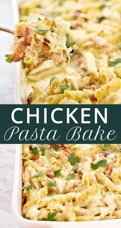 BBQ Chicken Pasta Bake - easy, no fuss pasta bake to use up your leftover chicken. Here in Australia we call it BBQ chicken, you might call it rotisserie chicken. Either way, it makes a great pasta bake! with rotisserie chicken easy undefined Creamy Chicken Pasta Bake, Tuscan Chicken Pasta, Chicken Alfredo, Easy Chicken Pasta Casserole, Leftover Chicken Casserole, Pasta With Chicken, Chicken Rice, Easy Skillet Dinner, Pasta Facil