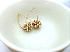 Wedding Earrings/ Beaded Earrings/Pearl Earrings/ Gold by Ranitit