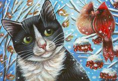 Tuxedo Cat & Cardinals - Winter Painting