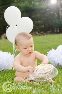 baby, boy, cake smash, birthday, one, first, 1st, balloons, outside, outdoors, grass