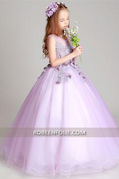 af3147a4555d3 Robe de soirée longue en couleur violet pour enfant en style princier…   robe enfant princesse  robe enfant soirée