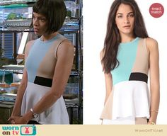 Camille's blue colorblock peplum top on Bones. Outfit Details: http://wornontv.net/20683 #Bones #Fox #TaramaTaylor