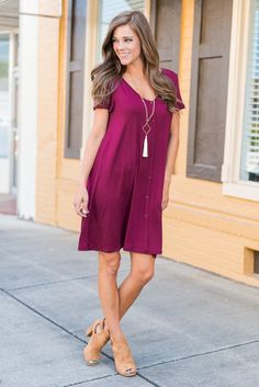 You have found your true love, at last! We know you have been searching and waiting! We are so glad you have finally found this burgundy dress! It's everything you've always wanted! Soft, adorable and so easy to wear!