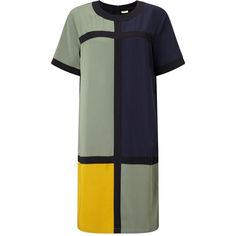 Numph Lyna Colour Block Dress, Multi ($75) ❤ liked on Polyvore featuring dresses, short sleeve midi dress, short sleeve shift dress, short sleeve maxi dress, shift dress and short sleeve dress