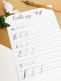Modern Calligraphy Practice Worksheets | Lowercase Letters | Calligraphy Practice with Sample Letters A through Z | Catherine Style by StunningScript on Etsy