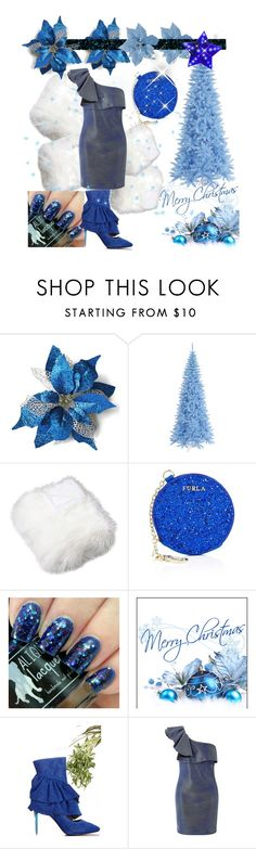 """Blue sparkle Christmas"" by greensparkle1 ❤ liked on Polyvore featuring Furla and Miss Selfridge"