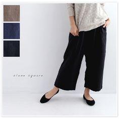【slone square  スロンスクエア】 フレンチ リネン サルエル 風 パンツ (8495)