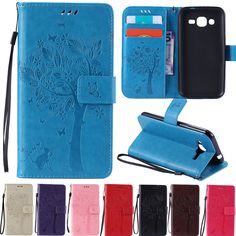 Luxury Embossed Flip Leather Stand Wallet Card Case Cover Hand Strap For Samsung