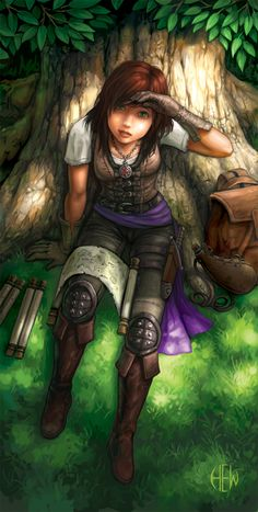 f Half Elf Rogue Arcane Trickster Leather Armor Cloak Map Scrolls backpack Traveler Deciduous Forest trail story female Hanna character lg High Fantasy, Fantasy Rpg, Medieval Fantasy, Fantasy Girl, Fantasy Artwork, Dungeons And Dragons Characters, Dnd Characters, Fantasy Characters, Female Characters