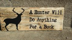 Hunter wood sign  Deer plaque reclaimed by TeesTransformations