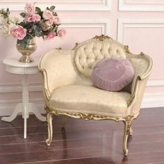 Cream Tufted French Style Petite Bergere Chair