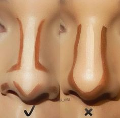 how to contour your nose right- Makeup tricks every girl should know http://www.justtrendygirls.com/makeup-tricks-every-girl-should-know/ Makeup Contouring Tutorial, Highlighter Tutorial, Face Contouring Makeup, Highlighter How To, Korea Makeup Tutorial, Make Up Contouring, Contouring Guide, Doll Face Makeup, Corrector Makeup
