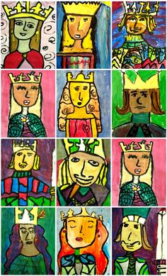 Deep Space Sparkle – Fairy Tale Kings and Queens Art Project Projeto de Artes: Reis e Rainhas Arte Elemental, 2nd Grade Art, Fourth Grade, Deep Space Sparkle, Creation Art, Queen Art, King Queen, Ecole Art, Fairytale Art