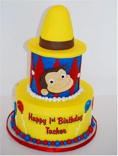 Curious George cake idea for Parker's birthday. he might change his mind by then. Curious George Cakes, Curious George Party, Curious George Birthday, 3rd Birthday Parties, Birthday Fun, Birthday Ideas, Fondant Cakes, Cupcake Cakes, Cupcakes
