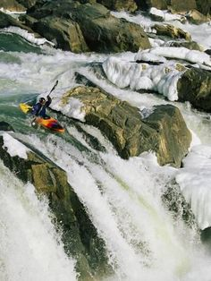 Photographic Print: Kayaker at the Top of a Waterfall, Great Falls on the Potomac River by Skip Brown : 16x12in