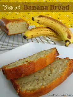 Yogurt Banana Bread by www.sweetasacookie.com | A delicious moist banana bread made with yogurt #yogurt #banana #bread