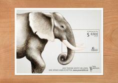 絶滅危惧種に対する狩猟の現実を訴える切手のアイデア「Pro Wildlife Campaign」