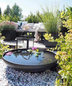 Water is always a fabulous feature in an outdoor garden Small Water Gardens, Back Gardens, Outdoor Gardens, Outdoor Spaces, Outdoor Living, Outdoor Decor, Terrace Garden, Plein Air, Patio Design