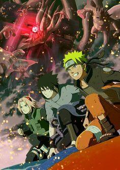 Haruno Sakura, Uchiha Sasuke and Uzumaki Naruto Naruto Team 7, Naruto Vs Sasuke, Anime Naruto, Naruto Shippuden Anime, Pain Naruto, Anime Ninja, Rwby Anime, Sakura Haruno, Sakura And Sasuke