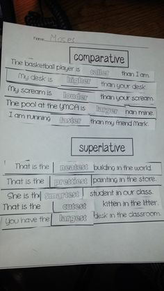 comparative and superlative adjectives http://www.teacherspayteachers.com/Product/Comparative-and-Superlative-Adjectives-1103664