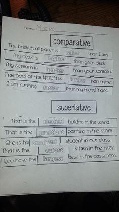 comparative and superlative adjectives http://www.teacherspayteachers.com/Product/Comparative-and-Superlative-Adjectives-1103664