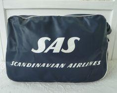 Vintage SAS Scandinavian Airlines Flight Carry-On Travel Bag Tote Luggage Travel Duffel Vinyl by TraSheeWomen on Etsy #scandinavian #scandinavianairlines #SAS #vintageairline #travelbag #dufflebag #vintagebag #vinyl