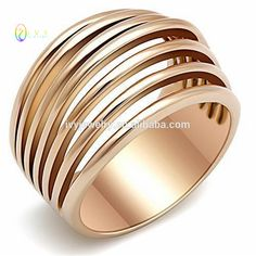 IJZ80901Women's Pink Rose gold GP Stainless Steel Wide Band Dome Emo Ring